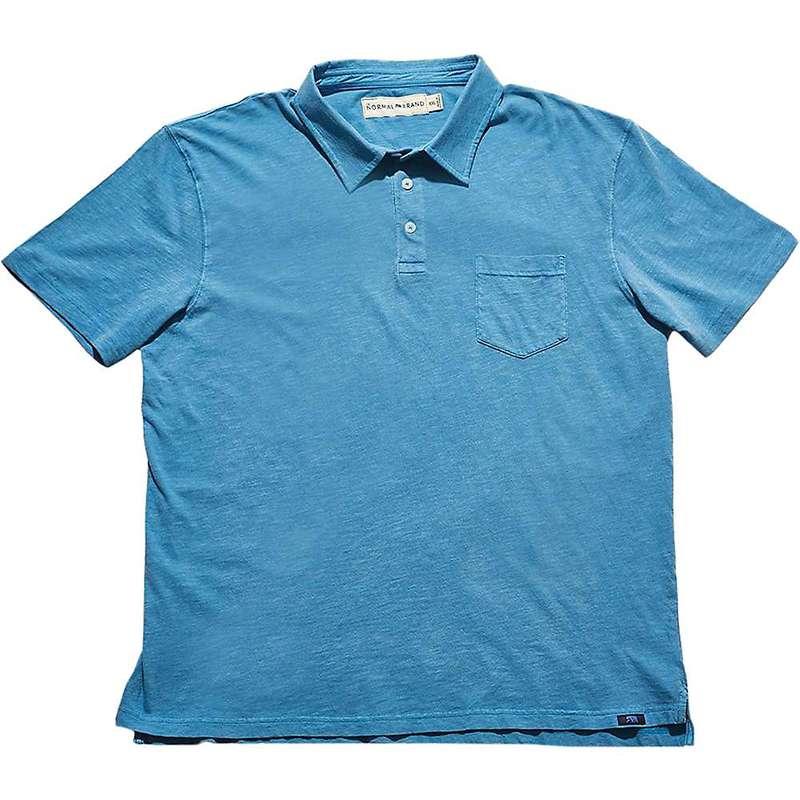 ノーマルブランド メンズ シャツ トップス The Normal Brand Vintage Men's Slub Short Sleeve Pocket Polo Blue