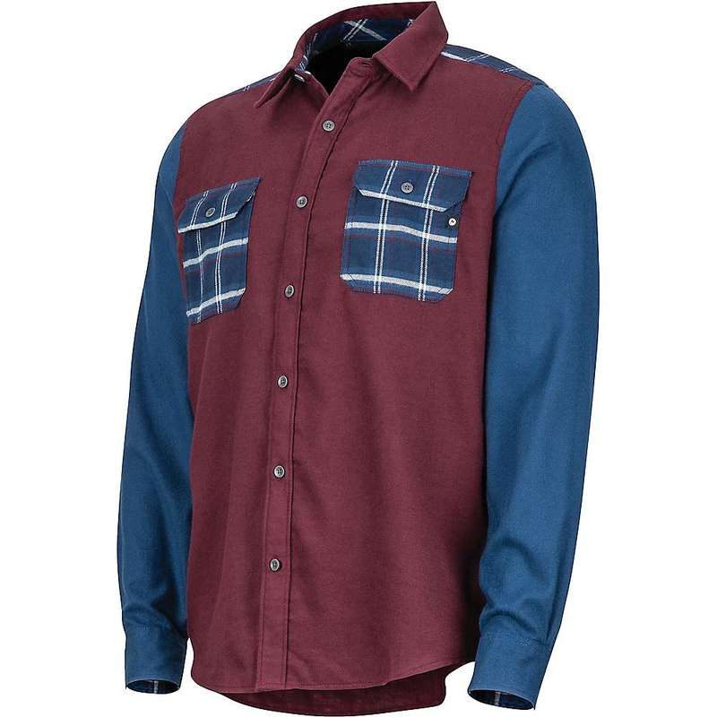 マーモット メンズ シャツ トップス Marmot Men's Pinyon Heavyweight Flannel LS Shirt Burgundy / Denim