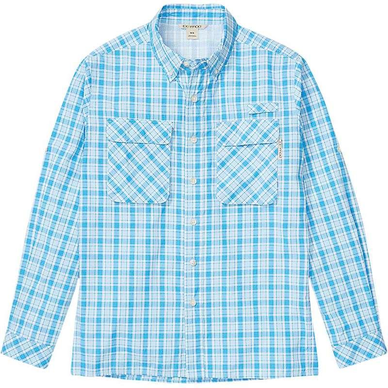 エクスオフィシオ メンズ シャツ トップス ExOfficio Men's Air Strip Check Plaid LS Shirt Blue Bell