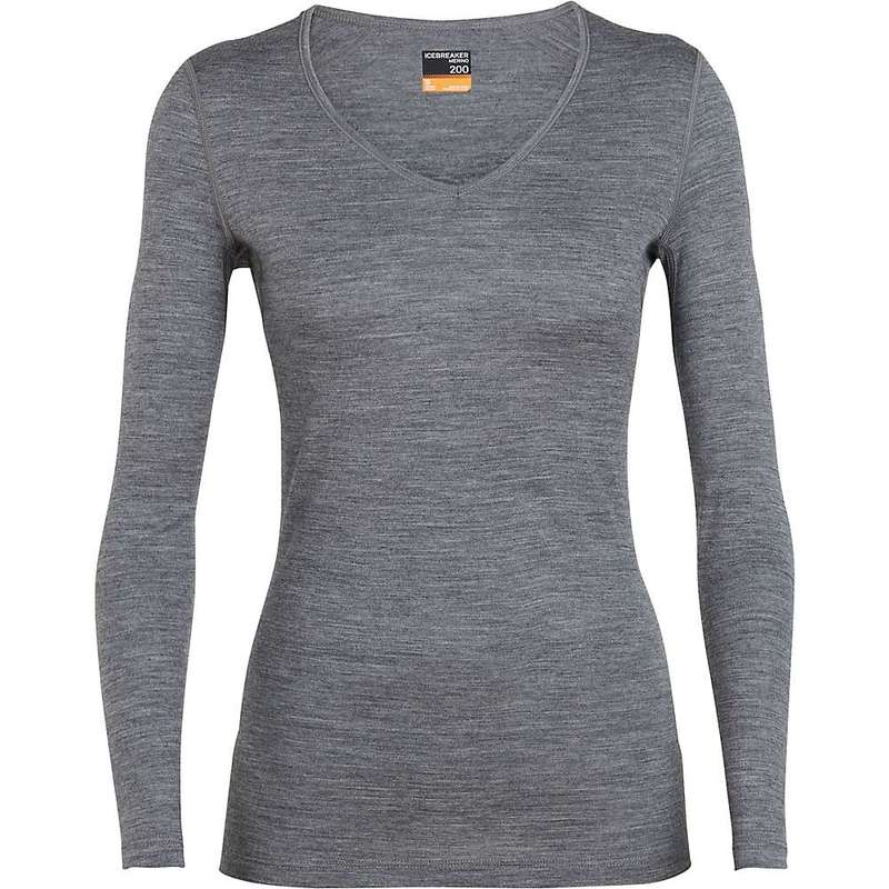 アイスブレーカー レディース シャツ トップス Icebreaker Women's 200 Oasis LS V Neck Top Gritstone Heather