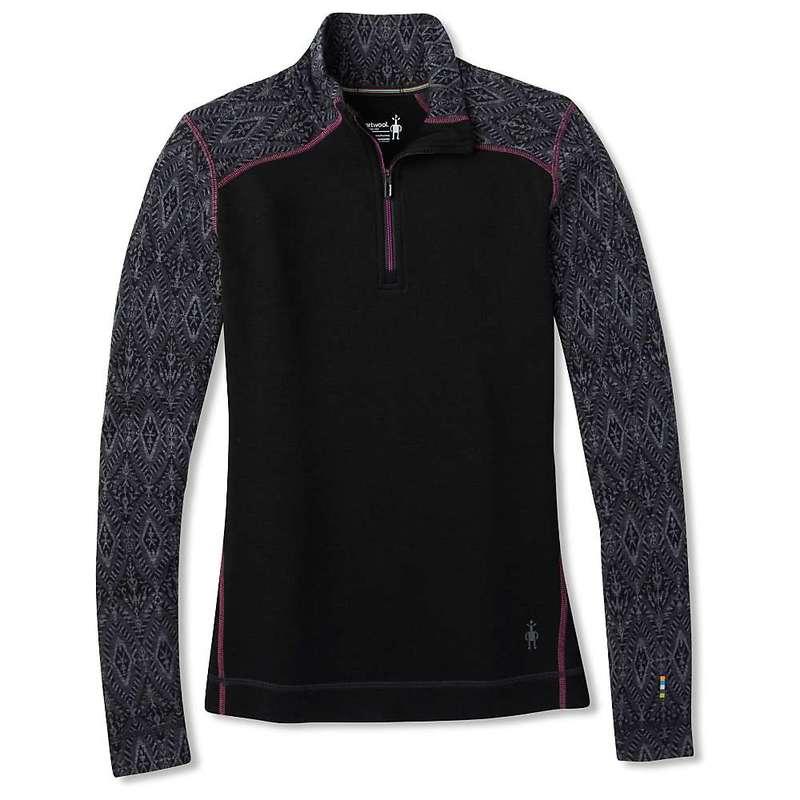 スマートウール レディース Tシャツ トップス Smartwool Women's Merino 250 Baselayer Pattern 1/4 Zip Top Black Medallion