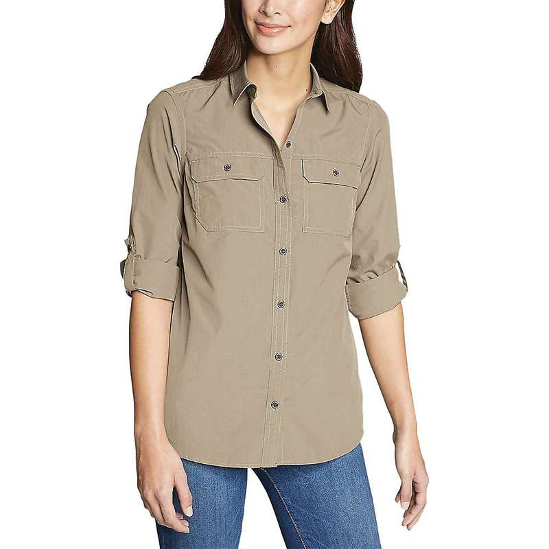 エディー バウアー レディース シャツ トップス Eddie Bauer Travex Women's Atlas Exploration Boyfriend Cargo Shirt Light Khaki