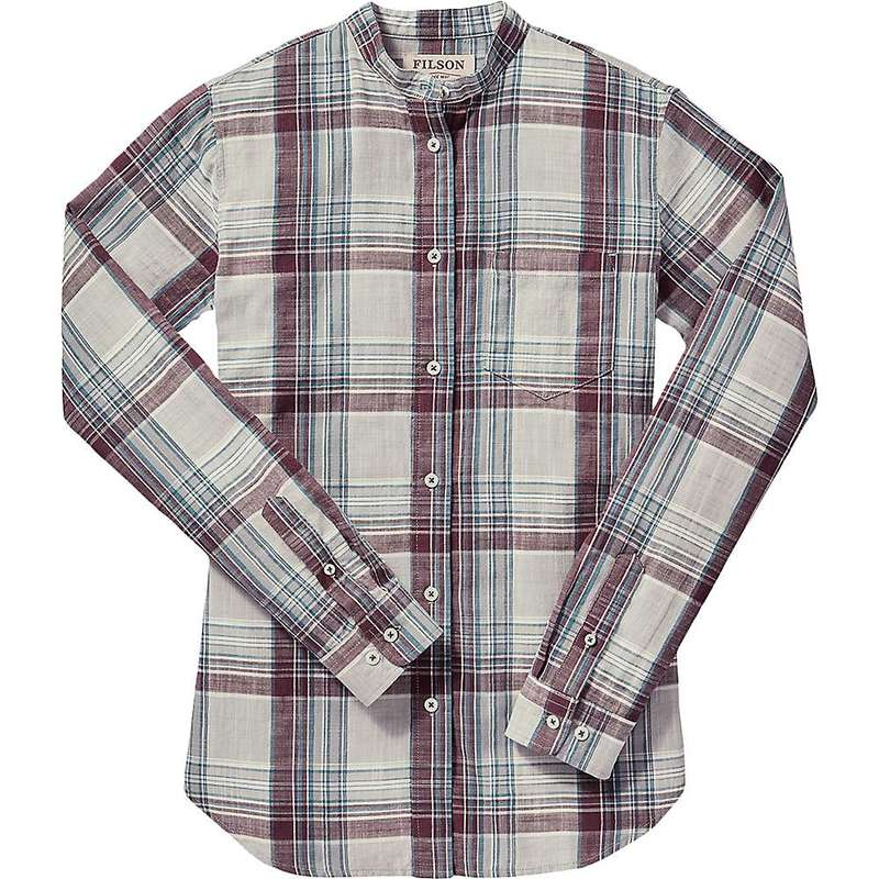 フィルソン レディース シャツ トップス Filson Women's Shelton Banded Collar Shirt Gray / Blue / Plum Plaid
