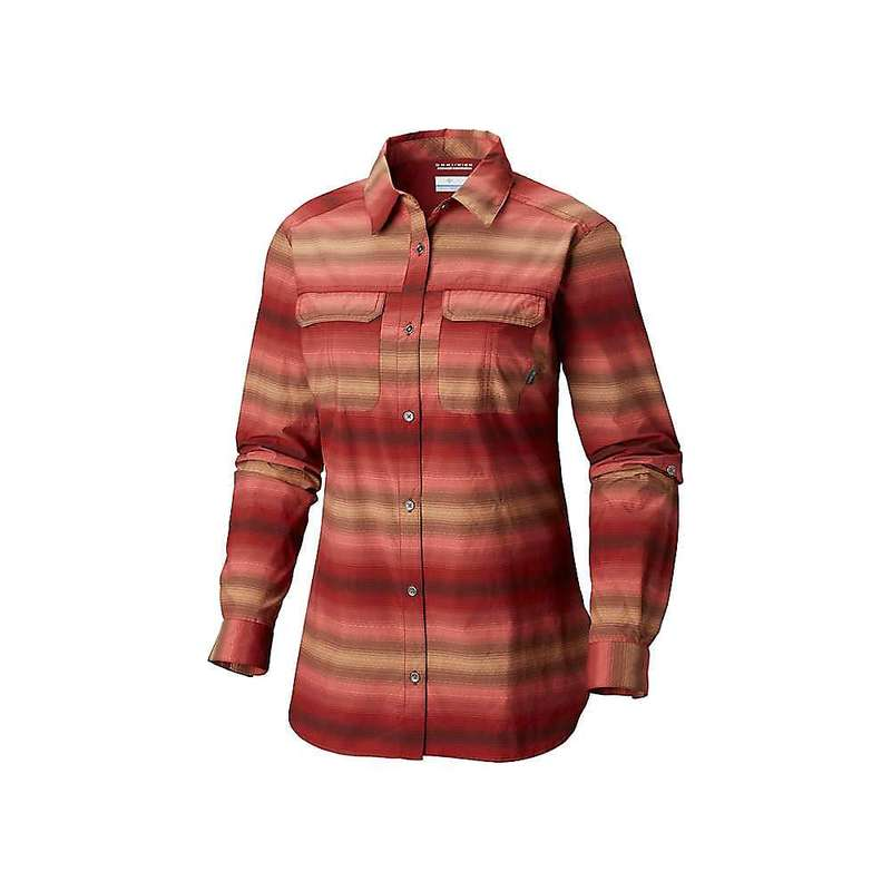 コロンビア レディース シャツ トップス Columbia Women's Pilsner Peak Ombre Stripe LS Shirt Garnet Red Ditty Stripe