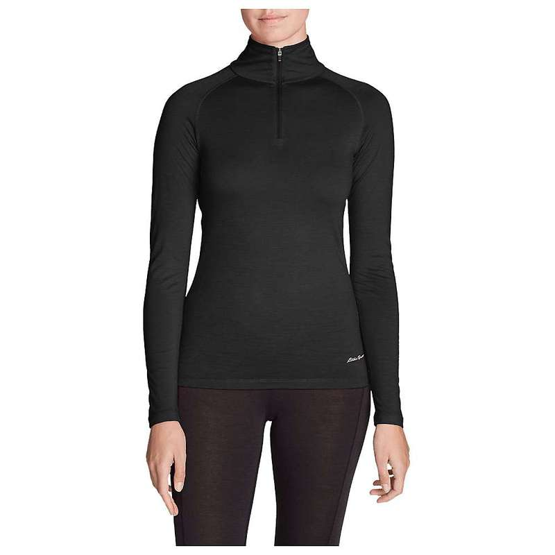 エディー バウアー レディース Tシャツ トップス Eddie Bauer First Ascent Women's Midweight Merino 1/4 Zip Black