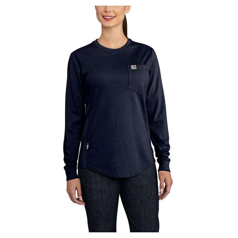 カーハート レディース シャツ トップス Carhartt Women's Flame Resistant Force Cotton LS Crew T-Shirt Dark Navy