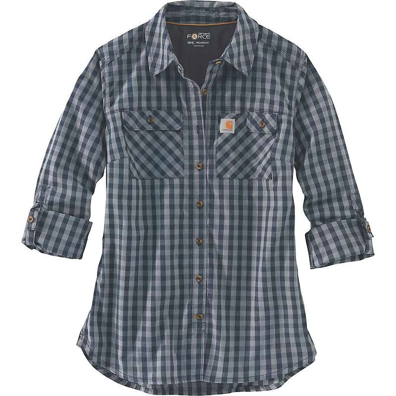 カーハート レディース シャツ トップス Carhartt Women's Force Ridgefield Plaid Shirt Dark Indigo