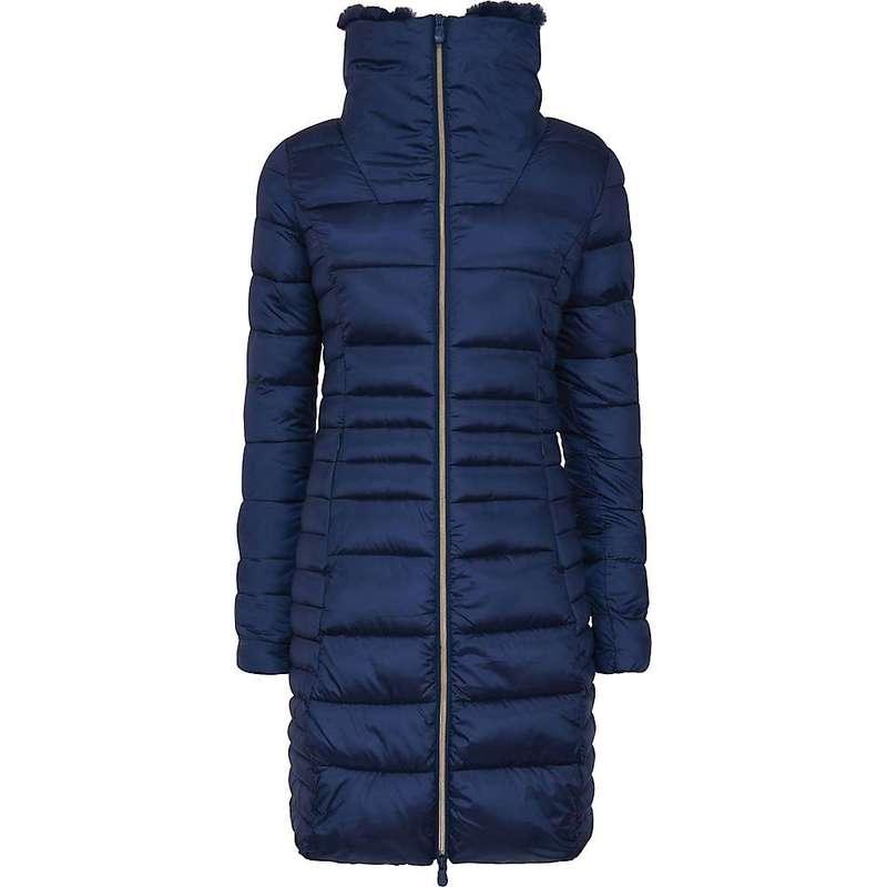 セイブ ザ ダック レディース ジャケット・ブルゾン アウター Save The Duck Women's Signature Faux Fur Lined Iridescent Long Jacket 09 Navy Blue