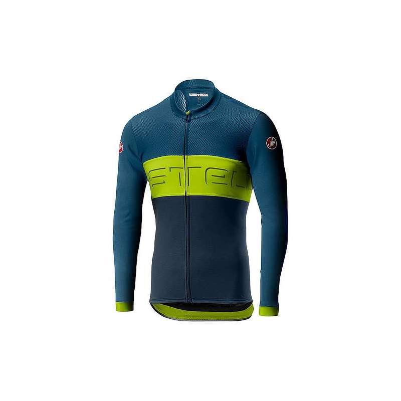 カステリ メンズ シャツ トップス Castelli Men's Prologo VI LS Full Zip Jersey Light Steel Blue / Chartreuse / Dark Steel Blue