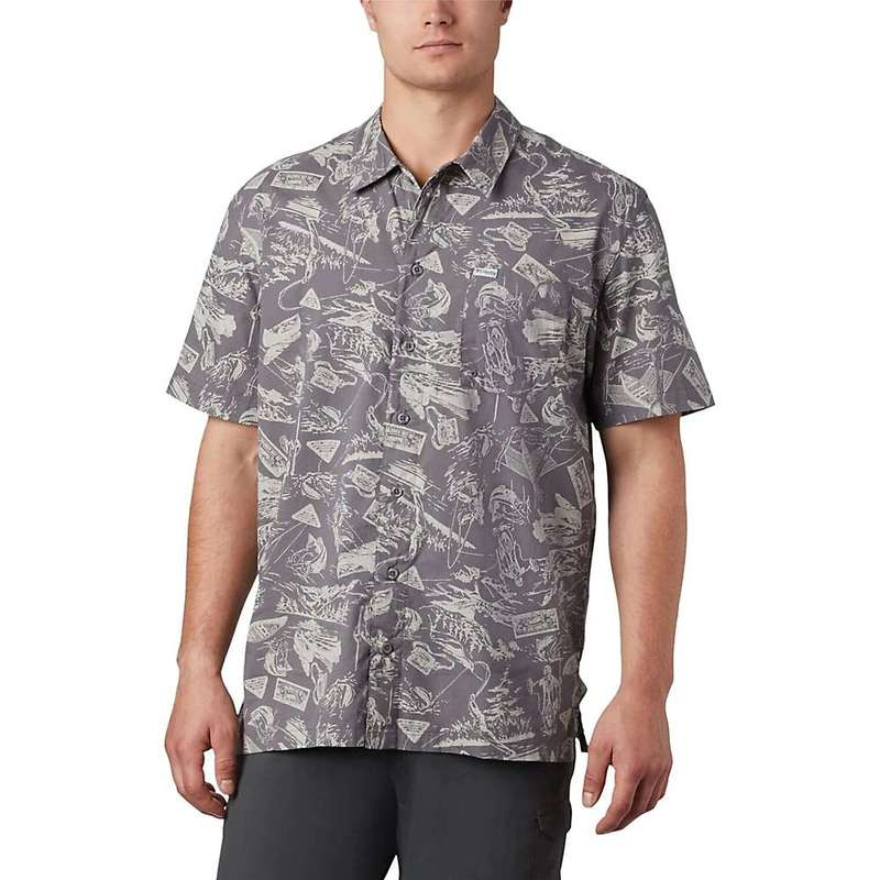 コロンビア メンズ シャツ トップス Columbia Men's Trollers Best SS Shirt City Grey Freshwater Roots Print