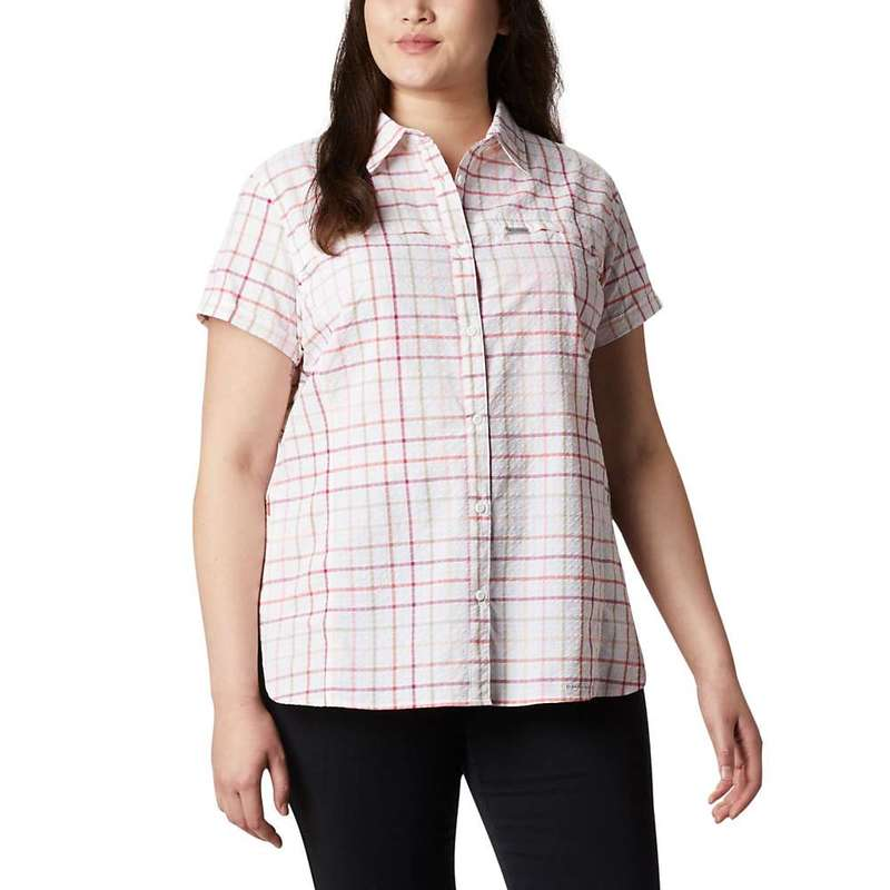 コロンビア レディース シャツ トップス Columbia Women's Silver Ridge Novelty SS Shirt Bright Poppy Windowpane
