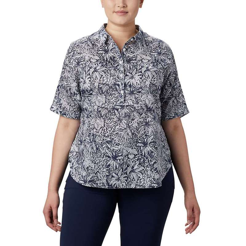 コロンビア レディース シャツ トップス Columbia Women's Sun Drifter 3/4 Sleeve Tunic Collegiate Navy Wilderness Print