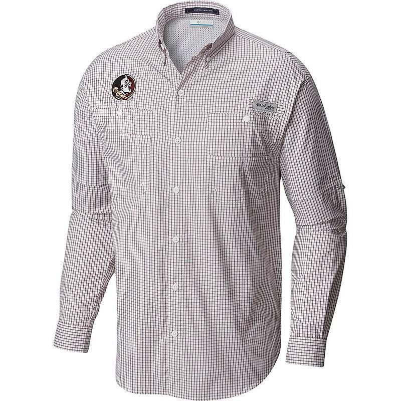 コロンビア メンズ シャツ トップス Columbia Men's Collegiate Super Tamiami LS Shirt Fsu - Cabernet Gingham