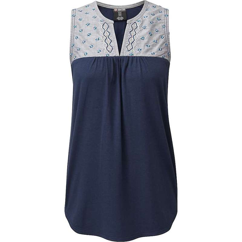 シャーパ レディース Tシャツ トップス Sherpa Women's Maya Embroidery Sleeveless Top Rathee Blue