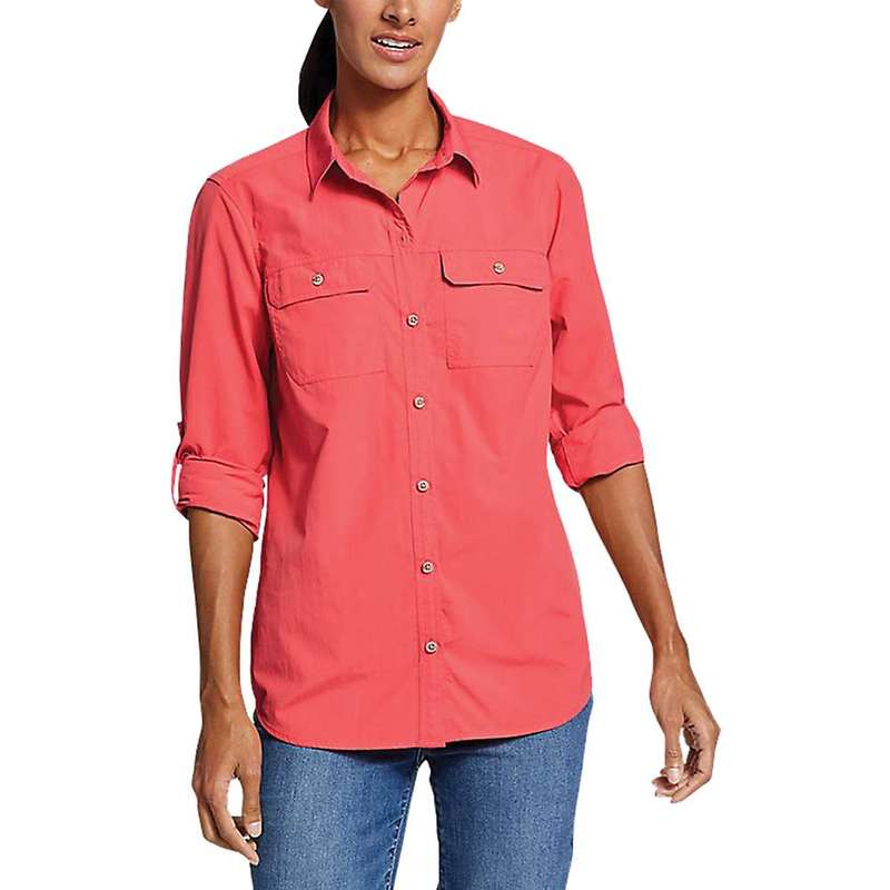 エディー バウアー レディース シャツ トップス Eddie Bauer Travex Women's Atlas Exploration Boyfriend Cargo Shirt Ink Red