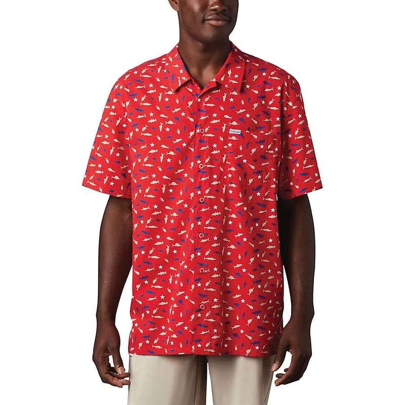 コロンビア メンズ シャツ トップス Columbia Men's Trollers Best SS Shirt Red Spark Americana Print