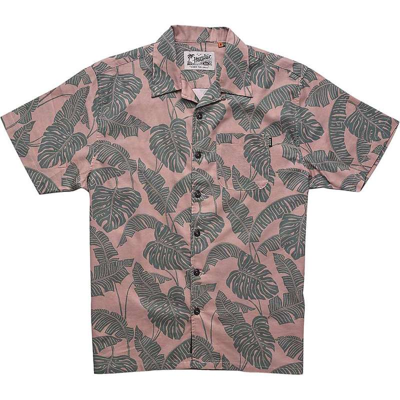 ハウラーブラザーズ メンズ シャツ トップス Howler Brothers Men's Monoloha Shirt Monstera Print / Canopy Khaki