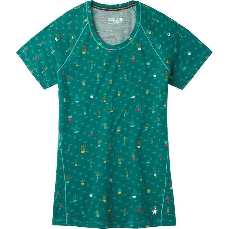 スマートウール レディース Tシャツ トップス Smartwool Women's Merino 150 Baselayer Print SS Tee Dark Peacock Cactus Print