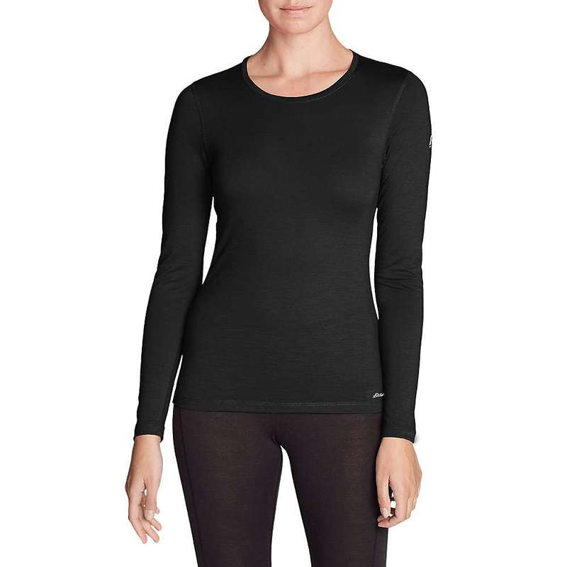 エディー バウアー レディース Tシャツ トップス Eddie Bauer First Ascent Women's Midweight Merino Long Sleeve Crew Black