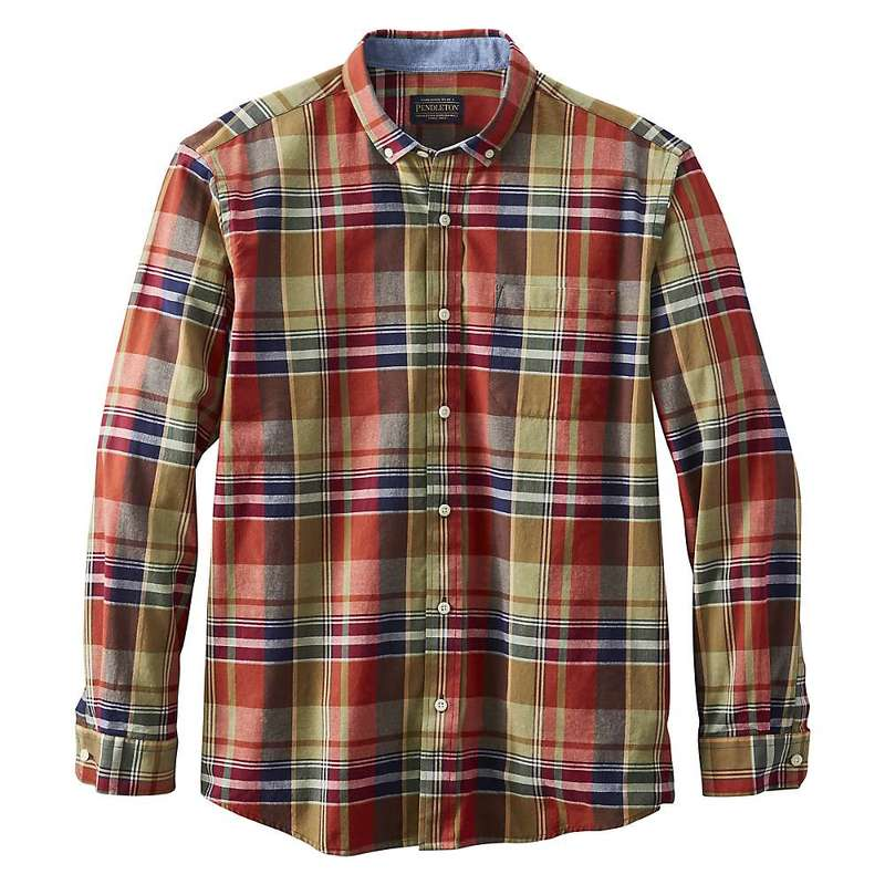 ペンドルトン メンズ シャツ トップス Pendleton Men's Madras LS Shirt Navy/Sand Multi Plaid