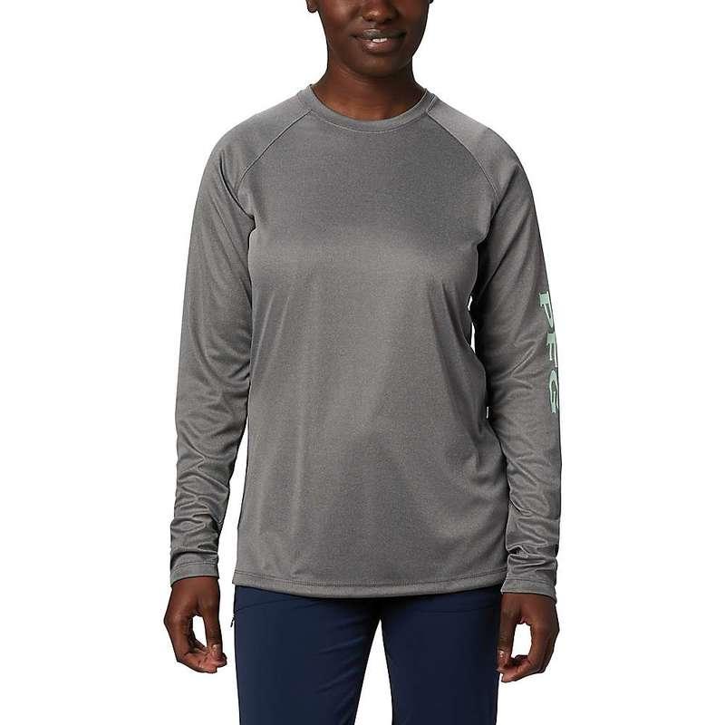 コロンビア レディース シャツ トップス Columbia Women's Tidal Tee Heather LS Shirt City Grey Heather / New Mint Logo