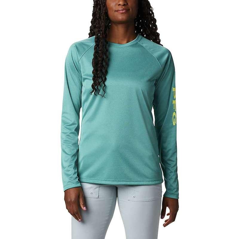 コロンビア レディース シャツ トップス Columbia Women's Tidal Tee Heather LS Shirt Waterfall Heather / Sunnyside Logo