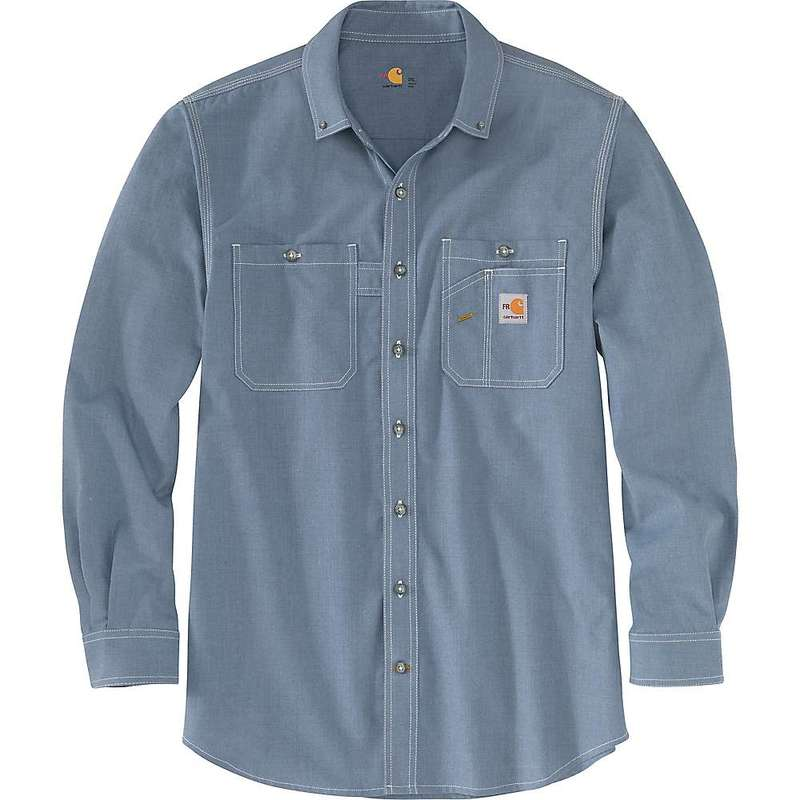 カーハート メンズ シャツ トップス Carhartt Men's Flame-Resistant Force Original-Fit Lightweight LS Button-Front Shirt Steel Blue