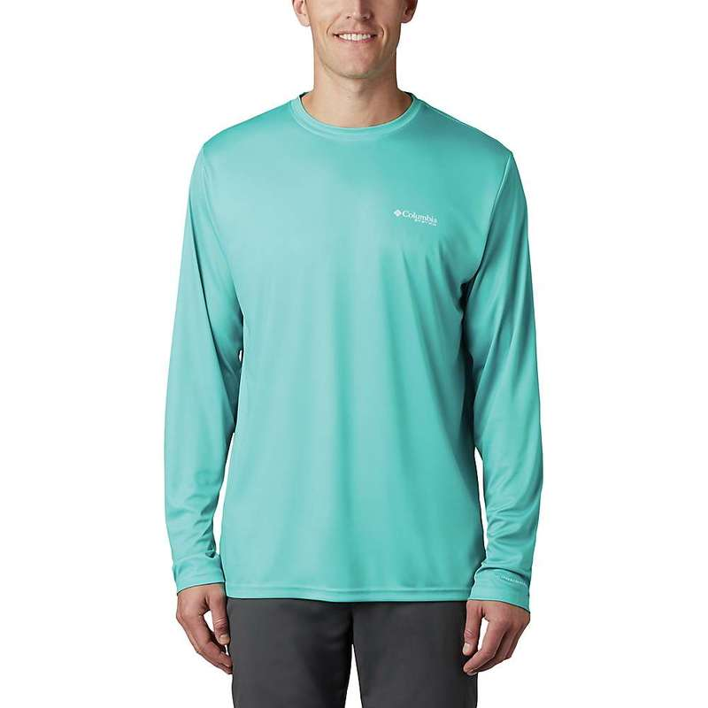 コロンビア メンズ シャツ トップス Columbia Men's Terminal Tackle PFG Fish Flag LS Shirt Bright Aqua / Dark Pool