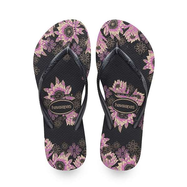 ハワイアナス レディース サンダル シューズ Havaianas Women's Slim Organic Sandal Black / Dark Grey / Rose Gold