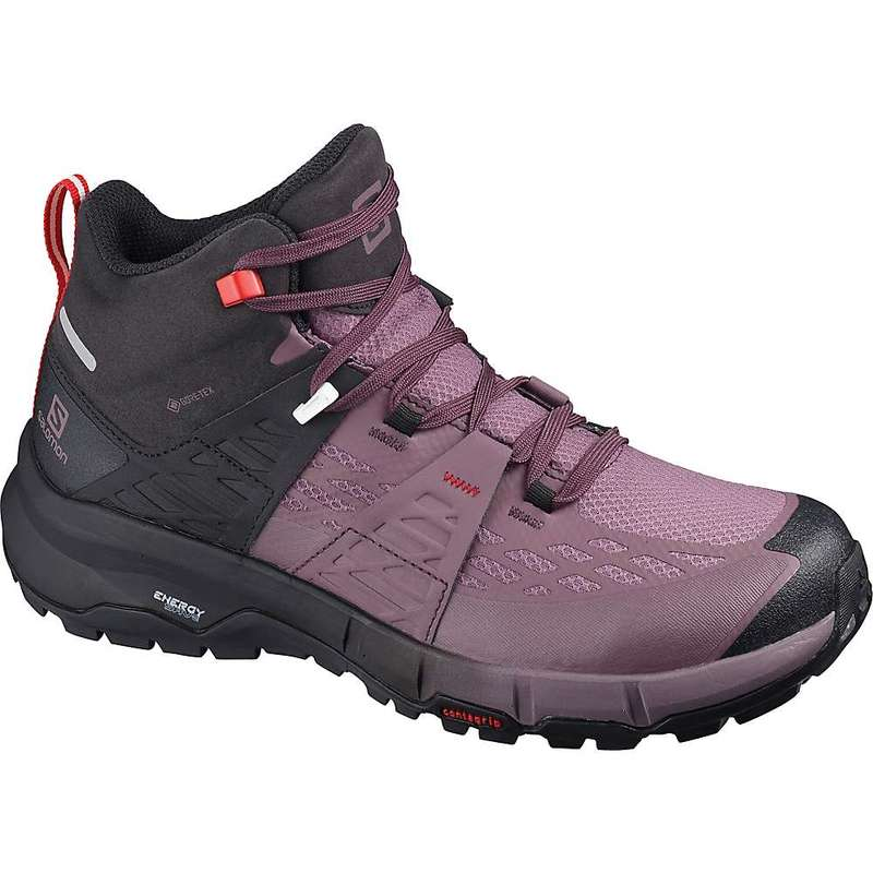 サロモン レディース ブーツ・レインブーツ シューズ Salomon Women's Odyssey Mid GTX Shoe Black / Flint / High Risk Red