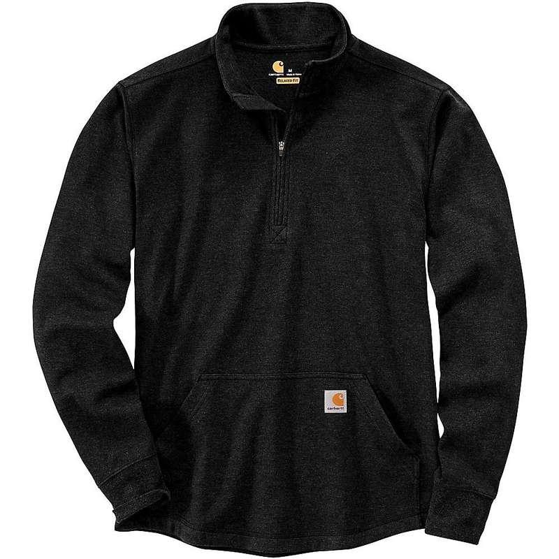 カーハート メンズ シャツ トップス Carhartt Men's Relaxed Fit Heavyweight LS Half Zip Thermal T-Shirt Black