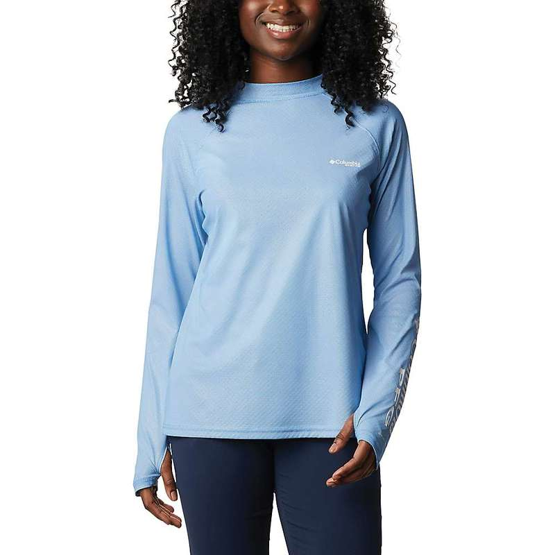 コロンビア レディース シャツ トップス Columbia Women's Tidal Deflector Zero Mock LS Top Azure Blue
