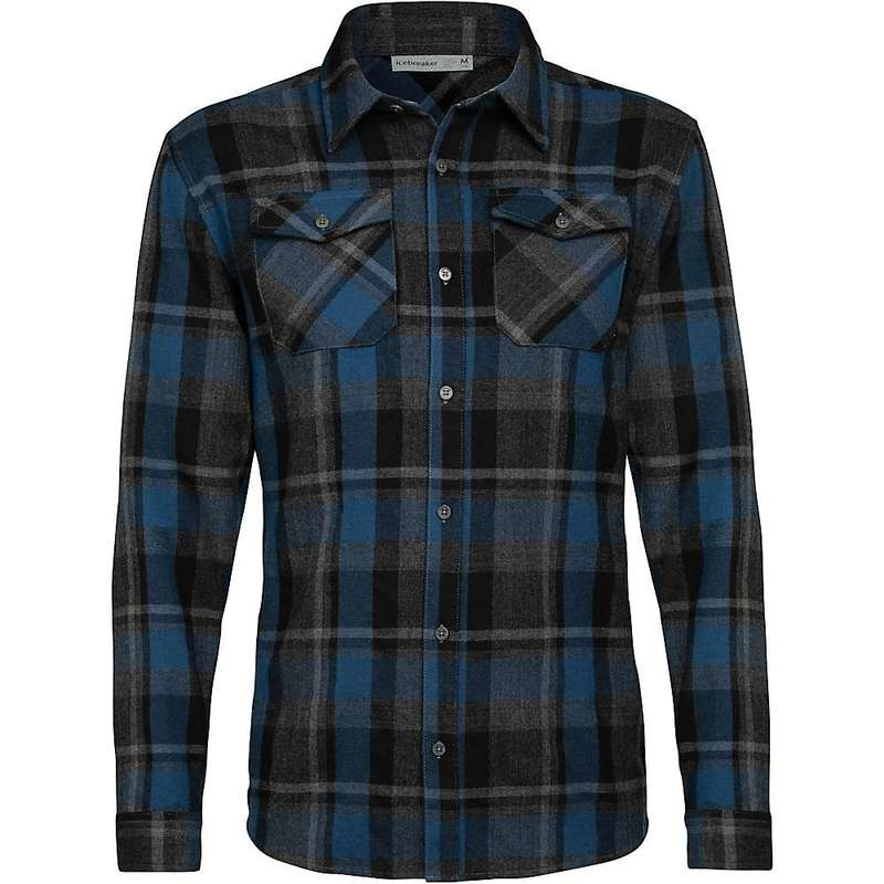 アイスブレーカー メンズ シャツ トップス Icebreaker Men's Lodge LS Flannel Shirt Black/Prussian Blue