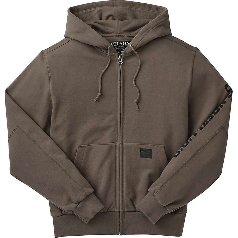 フィルソン メンズ パーカー・スウェット アウター Filson Men's Heavyweight 15-Oz. Fleece Zip-Up Hoodie - Graphic Canteen Brown