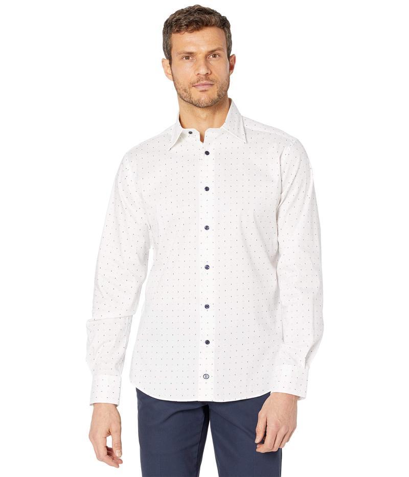 送料無料 サイズ交換無料 デイビッドドナヒュー メンズ トップス まとめ買い特価 シャツ White Blue Dress Performance Micro 新品 Print Fit Shirt Trim