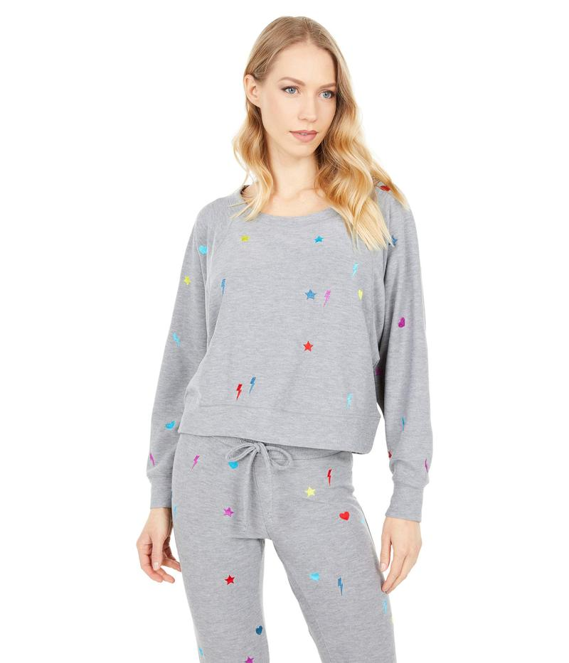 送料無料 サイズ交換無料 チェイサー レディース 開店記念セール アウター パーカー スウェット Heather Stitches アイテム勢ぞろい Knit Sweatshirt Cozy Grey Rainbow Raglan