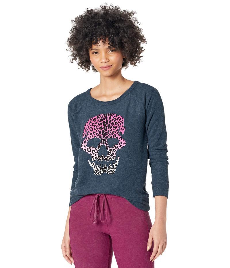 送料無料 サイズ交換無料 チェイサー レディース アウター パーカー 出荷 スウェット Skull Avalon Flocked Bliss Sweatshirt Knit 本物 Leopard