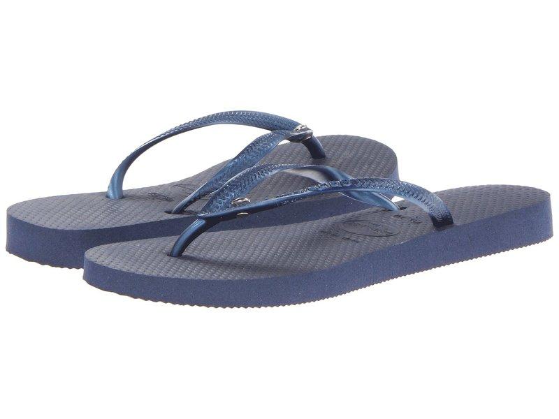 ハワイアナス レディース サンダル シューズ Slim Crystal Glamour SW Flip Flops Navy Blue