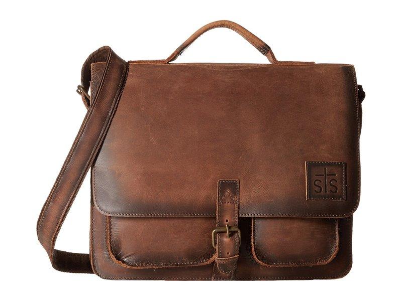 エスティエスランチウェア メンズ ショルダーバッグ バッグ The Foreman Messenger Brown Leather