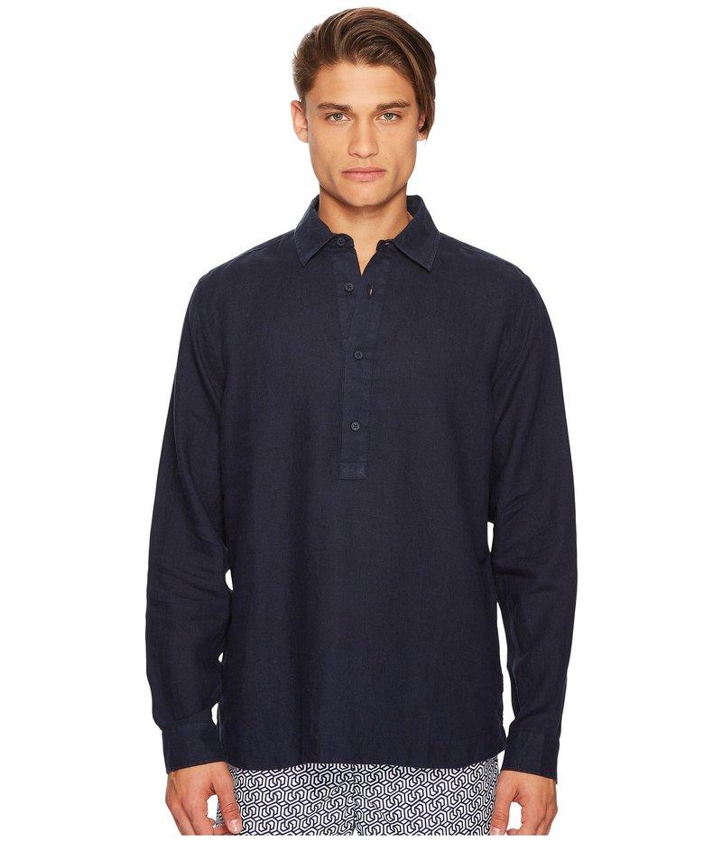 オールバー ブラウン メンズ シャツ トップス Ridley Riviera Linen Popover Shirt Navy