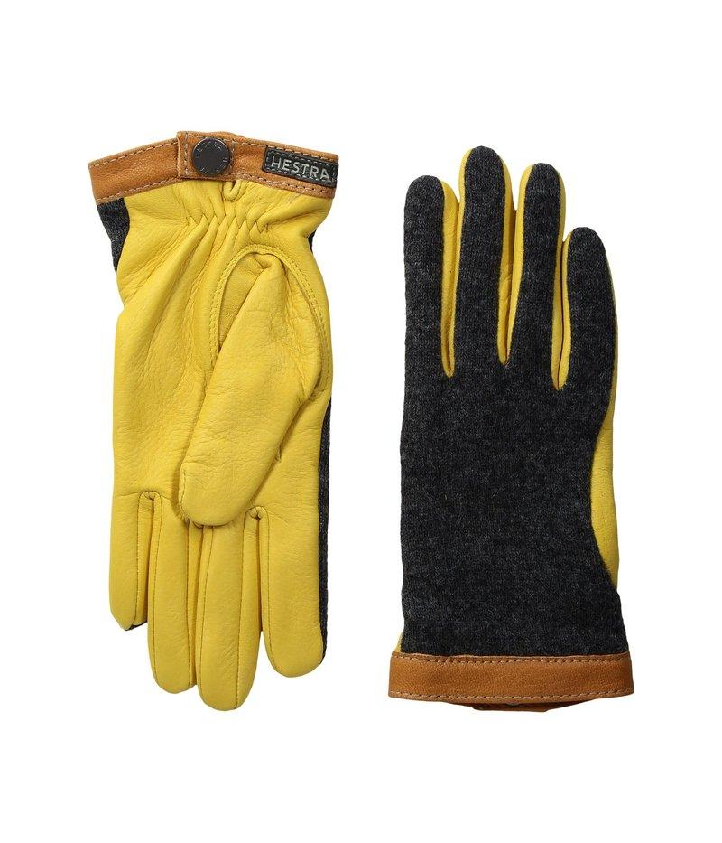 ヘストラ メンズ 手袋 アクセサリー Deerskin Wool Tricot Charcoal/Natural Yellow