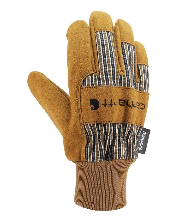 送料無料 サイズ交換無料 カーハート メンズ アクセサリー 手袋 使い勝手の良い Brown Insulated Cuff Glove Knit Suede 5 Work 日本正規品 System With