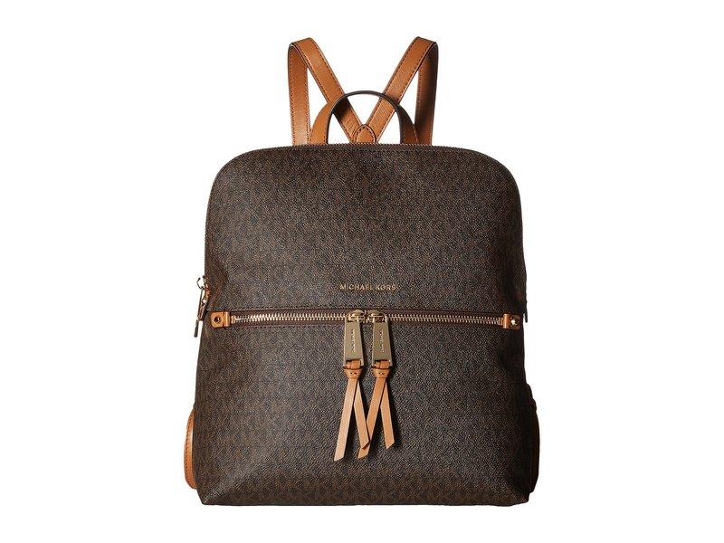 マイケルコース レディース バックパック・リュックサック バッグ Rhea Zip Medium Slim Backpack Brown