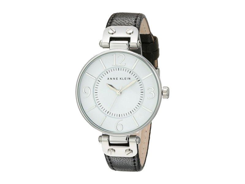 アンクライン レディース 腕時計 アクセサリー 109169WTBK Round Dial Leather Strap Watch Black