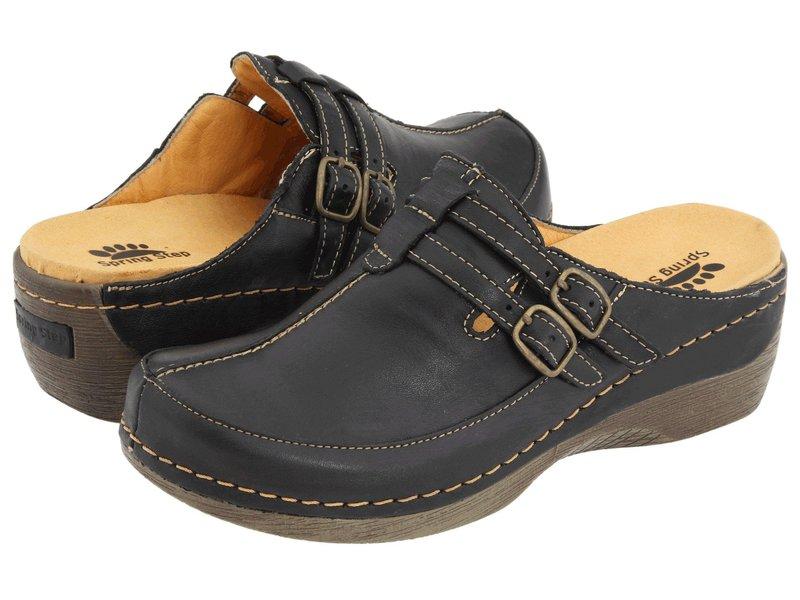 スプリングステップ レディース サンダル シューズ Happy Black Leather