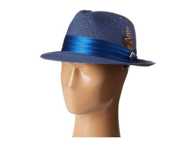 ステイシーアダムス メンズ 帽子 アクセサリー Polybraid Pinch Front Fedora with Silk Band Blue