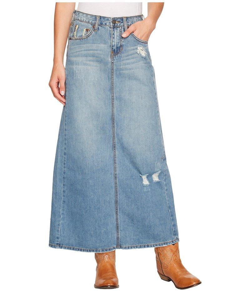 ステトソン レディース スカート ボトムス Long Denim Skirt w/ Back Slit Blue