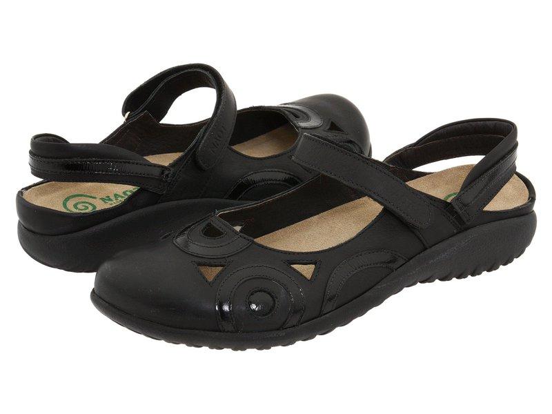ナオト レディース サンダル シューズ Rongo Jet Black/Black Patent Leather