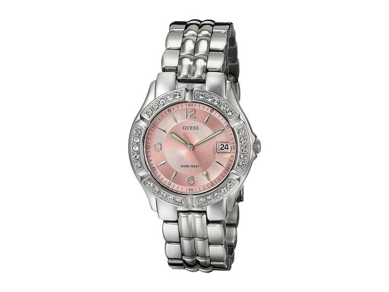 ゲス レディース 腕時計 アクセサリー G75791M Stainless Steel Quartz Watch Silver Bracelet/Silver Case With Crystals/Pink Dial