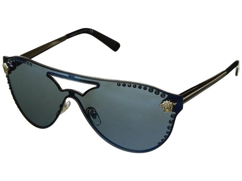 ヴェルサーチ レディース サングラス・アイウェア アクセサリー VE2161B Pale Gold/Dark Blue Mirror